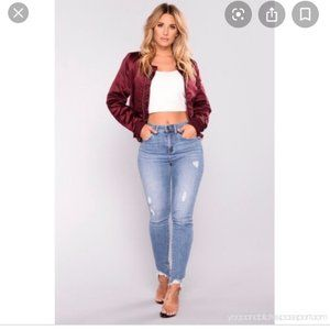 Fashion Nova Shay Satin Bomber